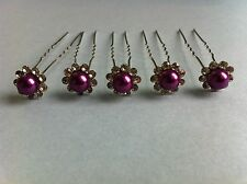10 Epingles pinces cheveux fleur strass violet chignon mariage neuf
