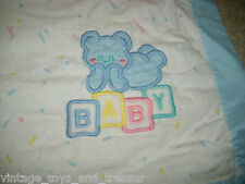 36 24 VINTAGE CUDDLE TIME BABY BLUE BOY TEDDY BEAR SHEET BEDDING BLANKET FLANNEL