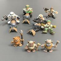 11Pcs Star Wars Galactic Heroes Ewok ROTJ Jedi Action Figure &Speedbike Toy