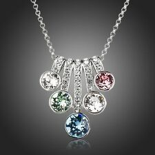Sparkly Multi Colored Swarovski Element Crystals Chain Necklace Pendant Jewelry