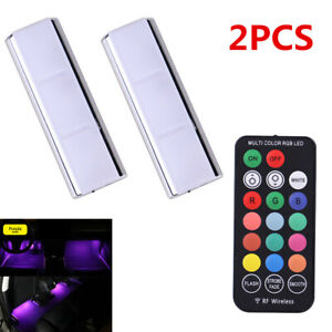 2X Magnetic Suction Car RGB LED Interior Decorative Lamp Ambient Lamp Foot Light