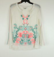 Boden Womens 6 Gauze Boho Peasant Blouse Embroidered Neon Flowers Tassels