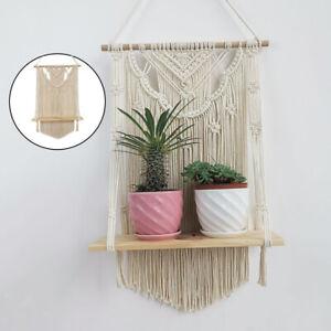 Boho Wall Decor Hanging Shelves Macrame Wooden Shelf for Flower Pot Planters