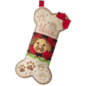 Bucilla Felt Applique Christmas Stocking Kit DOGGY TREAT Dog Puppy 18 in