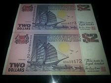 2 Singapore Ship $2 note (running number)
