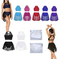 Girls Kids Ballet Dance Praise Lyrical Dress Crop Top Tutu Skirt Outfit 2pcs Set