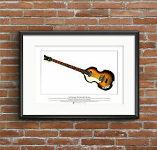 Paul McCartney's '63 Hofner 500/1 Violin Bass Ltd Edition Fine Art Print A3 size