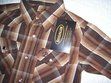 BOYS BRIGALOW LS WESTERN STYLE SHIRT 100% COTTON BROWN/BLACK CHECK SIZE 0&2 A/V