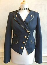 TOPSHOP Navy Blue Gold Tuxedo Steampunk Military Summer Blazer Jacket Small 10