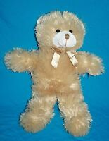 """A Mart Stuffed Animal TEDDY BEAR 17"""" Beige Plush Gold Bow Soft Toy Long Legs"""