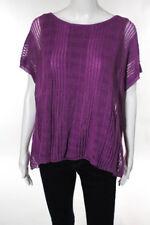 Lafayette 148 New York Pink Linen Cap Sleeve Open Knit Top Size Medium