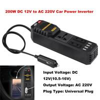 200W DC12V to AC 220V Car Power Inverter Cigarette Lighter USB Charger Universal