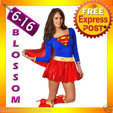 8349 Ladies Supergirl Hero Girl Fancy Dress Halloween Superhero Costume Outfit