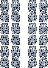 Hippo Animal Edible Wafer Paper Cupcake Topper x 24