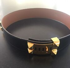 100% Authentic HERMES Medor Collier De Chien Leather Belt Black Gold