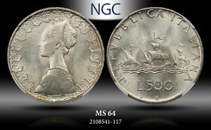 1966 R ITALY S500 LIRE NGC MS64 SILVER!