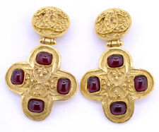 CHANEL CC Red Gripoix Cross Dangle Earrings Gold Clip-On 94A Vintage w/BOX m3828