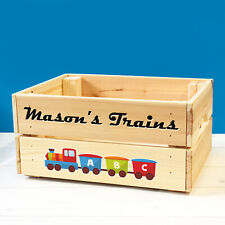 Personalised Kids Toy Train Track Set Wooden Storage Toy Box Crate for Children