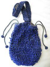 Art Deco Vintage Accessories Antique Crochet Cobalt Blue Bead Ball Tiered Fringe Satin Lining Flapper Purse