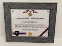 Military Commemorative ~ MERITORIOUS SERVICE COMMEMORATIVE MEDAL CERTIFICATE
