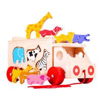 Bigjigs Toys Wooden Animal Shape Lorry Sorter Pull Along Educational Sorting