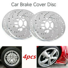 4 Pcs Silver Tone Aluminum Cross Drilled Car Disc Brake Rotor Covers Decorative
