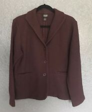 Eileen Fisher Blazer Jacket Womens Size Large Wool Blend Burgundy