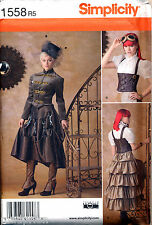 SIMPLICITY SEWING PATTERN 1558 ADULT 14-22 STEAMPUNK CORSET JACKET SKIRT COSTUME