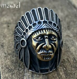 MENDEL Mens Gold Outlaw Biker Indian Chief Ring Stainless Steel Men Size 7-15