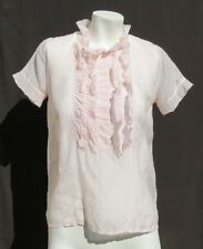 CHELSEA FLOWER Pink Gauzy Cotton Silk Pleated Ruffle Blouse Shirt Top size S