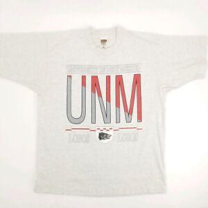 Vintage 90s sz Large UNM Lobos Single Stitch Tshirt Gray 50/50 Short Sleeve