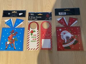 8 Giant Christmas Gift Tags (Santa/ Reindeer)& 8 Wine Bottle Gift Tags(4 Styles)