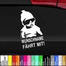Baby fährt mit Wunschname Autoaufkleber on Board Sticker Tuning Fun hangover 1x