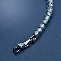18k white gold gf made with SWAROVSKI crystal beaded chain tennis bracelet 4mm