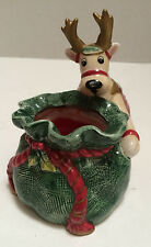 Fitz & Floyd Reindeer Santa Christmas Candle Cup with Red Candle inside