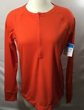 Eastern Mountain Sports Womens Large Hydro 1/2 Zip Top Orange Tech Wick NWT