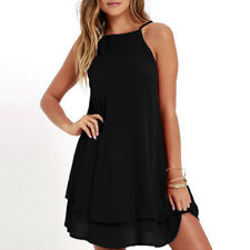 Women Sexy Sleeveless Backless Mini Dress Chiffon Beach Sundress Loose Top