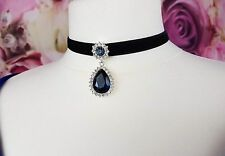 Ladies Girls Choker Necklace With Blue Hanging Teardrop Crystal Silver Plated
