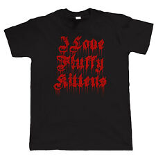 I love Fluffy Kittens, Mens Death Metal T Shirt - Funny Rock Music Bands Gift