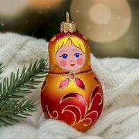 "3.5"" Matryoshka Glass Christmas Tree Ornament New Year Decor, Nesting Dolls"