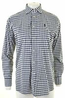 POLO RALPH LAUREN Womens Shirt Size 6 XS Blue Check Cotton Boyfriend Fit  JA04