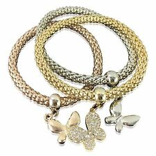 ROSE GOLD SILVER 3 PCS BUTTERFLY CHARMS CHAIN STRETCHY LINK BRACELET JEWELLERY