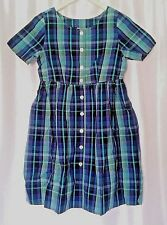 FADS Vtg Plaid Pockets Dress Tailored Gunge Hipster Cotton Button Front Size 8P