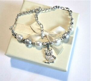 Ladies925 Sterling Silver *Little Owl* pendant Chain bracelet  *in a gift box*
