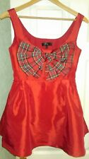 Red Skater Dress with Check Bow - good for festive/ Christmas or fancy dress