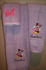 Minnie Mouse Dancing Personalized 3 Piece Bath Towel Set Your Color Choice