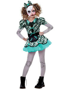 Childs Dark Broken Doll Fancy Dress Halloween Costume Outfit Creepy Girls Kids