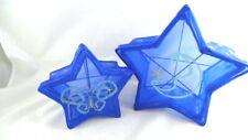 2 Blue Mesh STAR SHAPE NESTING BOXES Storage Home Decor Sparkle