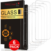 6 PACK For iPhone 12 11 Pro Max XR X XS 8 7 Plus Tempered GLASS Screen Protector