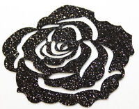 Rose noir Glitter 7 cm Patch thermocollant hotfix customisation textile